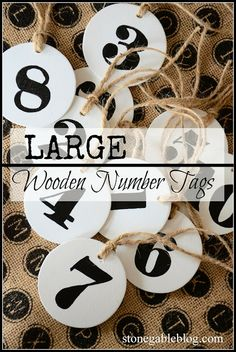 Easy to make Pottery Barn inspired LARGE NUMBER TAGS DIY