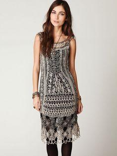 Free People Fp Spun Roaring 20s Crochet Dress in Silver | Lyst