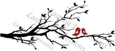 Tree Branch with Heart Birds 50x22 Vinyl by ALastingExpression