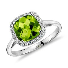 Oh, dear husband, I love this. Peridot and Diamond Halo Cushion Ring in 14k White Gold (0.17 ct. tw.)