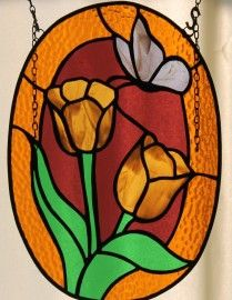 2014-06-02 19.14.16 Oval tulip and butterfly stained glass panel.