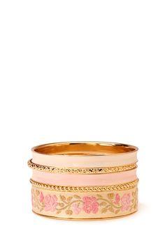 Sweet Rose Bangle Set | FOREVER21 #Accessories #Bracelet #Floral