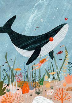 Summer mood ║ Personal illustrations on Behance Ocean Illustration, Digital Illustration, Art Plage, Art Mignon, Whale Art, Sea Art, Oeuvre D'art, Cute Art, Street Art