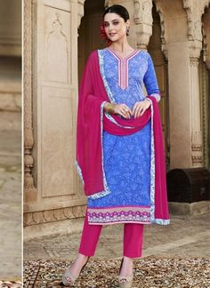 Pink And Blue Cotton Silk Brasso Embroidery Work Churidar Suit