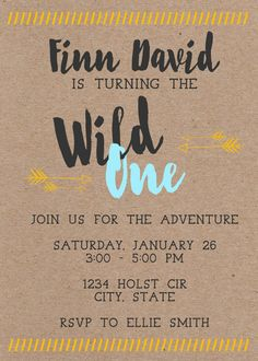Wild One First Birthday Invitation by MaeberrysNest on Etsy