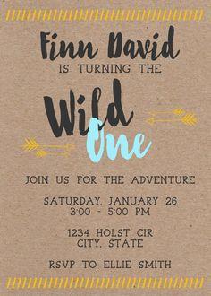 Wild One First Birthday Invitation by MaeberrysNest on Etsy