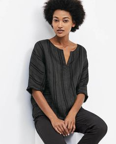 Poetry - Notch neck striped top - A slightly oversized linen top with a subtle, tonal stripe. Styled with elbow-length dolman sleeves, a round neckline and finished with frayed cuffs and hemline. 100% linen