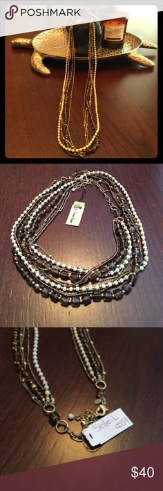 """Premier Necklace (Soleil) 34"""" dropped price 25% Soleil premier designs necklace. 5 strands on this natural colored piece. Great for fall. Creams,Browns and gold tones. Premier Designs Jewelry Necklaces"""