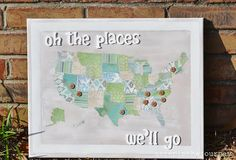 Oh the Places You'll Go  Travel Map; perfect for the 1st anniversary (paper!)