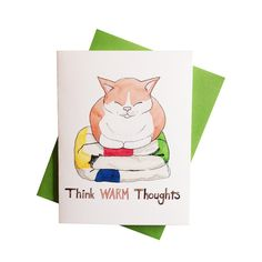 Christmas Card  Think Warm Thoughts  Cat on a Blanket by eggagogo, $4.50