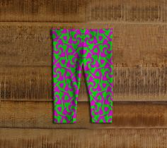 Neon Pink Green Abstract Baby Leggings