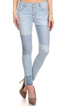 Enjean Women's Patched Faded Skinny Jeans w/ Released Hem...