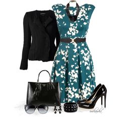 """""""Teal, Black and White"""" by imclaudia-1 on Polyvore"""