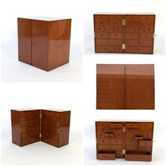 Solid mahogany Campaign style apothecary chest; the two sides lock together face to face to keep all of the drawers secured for travel; English, circa 1860. #campaignfurniture #contemporarydecor #vintagedecor #apothecarycabinet #interiordesign #interiordesigninspiration #homedecor #campaignchest #cabinet #mahogany