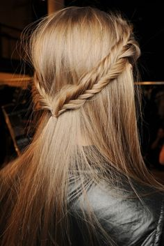 two fish tail braids, hair half up