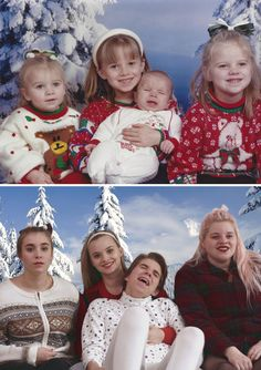 50 Times People Absolutely Nailed Their Family Photo Recreations Awkward Family Pictures, Funny Family Photos, Funny Photos, Recreated Family Photos, Childhood Photos Recreated, Funny Laugh, Funny Jokes, Hilarious, 17 Kpop