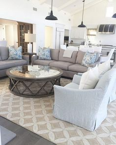 Great furniture layout for the living room - love the sectional ...