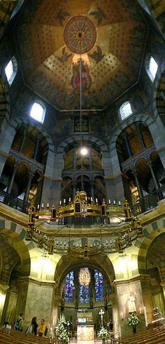 Charlemagne's Chapel (The Palatine Chapel) in Aachen Cathedral, Germany, dates from the 7th century