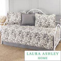 @Overstock.com - Laura Ashley 5-Piece Cotton Daybed set. Set Includes quilted daybed cover, bedskirt, 2 quilted shams and one printed sham that matches the bedskirt.http://www.overstock.com/Bedding-Bath/Laura-Ashley-Amberley-5-piece-Daybed-Set/7819534/product.html?CID=214117 $109.99