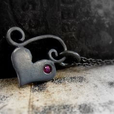 little silver heart necklace with ruby -  black heart pendant