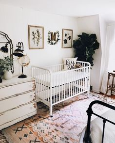 Unlike the kids' room, the design of the farmhouse nursery is more about you than it is about your kid. The baby won't really be concerned with the way the nursery looks like, in fact, it probably can't even notice… Continue Reading → Baby Bedroom, Nursery Room, Girl Nursery, Girl Room, Kids Bedroom, Vintage Nursery Girl, Elephant Nursery Boy, Vintage Baby Rooms, Vintage Crib
