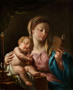 The Virgin and Child Reading a Prayer Book. Francesco Trevisani (Italian, 1656-1746). Oil on canvas. The Christ Child is sitting on a table with its head sleepily leaning against its mother's shoulder. He is holding an apple and a small cross in its hands - the cross' shadow is falling on its mother's chest. A candle hidden behind a veil lights the scene from the left.