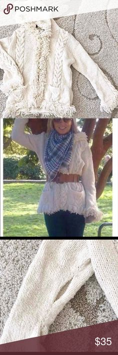Cozy Chunky Fringe Coat Jacket One size. Cream color and very cozy for fall/winter nights or by a camp fire. I wore a few times with a wide belt around the waist. One arm needs mending but I honestly didn't even notice it until now. Heavy, chunky & cozy. Jackets & Coats