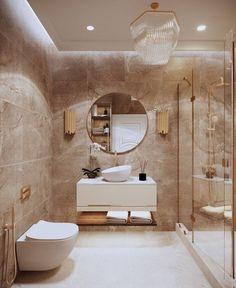Washroom Design, Bathroom Design Luxury, Modern Bathroom Design, Home Interior Design, Cream Modern Bathrooms, Modern Toilet Design, Small Luxury Bathrooms, Modern Marble Bathroom, Beige Bathroom Furniture