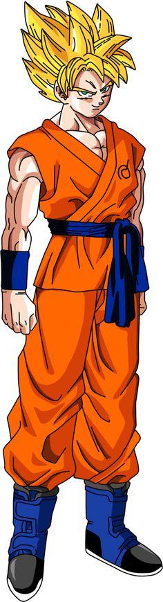 Goku en Super Saiyan,pero con el traje de Dragon Ball Super