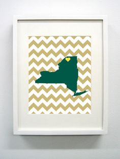 Potsdam New York State Giclée Print  8x10   Gold by PaintedPost, $15.00 #paintedpoststudio - Clarkson University - Golden Knights- What a great and memorable gift for graduation, sorority, hostess, and best friend gifts! Also perfect for dorm decor! :)