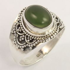 Natural SERPENTINE Gemstone 925 Sterling Silver Indian Jewelry Ring Size US 7.75…