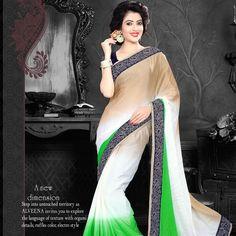 Shop new green chiffon classic designer saree.  #saree #chiffon #fashion