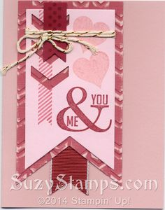 Stampin' Up! Cards - 2014-01 Love is in the Air Cards Class - Perfect Pennants stamp set, Banners Framelits Dies, Arrows Embossing Folder and Gold Baker's Twine, Chevron Border Punch