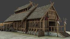 Viking House, Viking Age, Viking Village, Polygon Modeling, 3d Model Architecture, Small Business License, Medieval Houses, Norse Vikings, Asatru