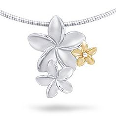 Yellow Gold and Sterling Silver Plumeria Bouquet Pendant with Diamond (Chain Included)