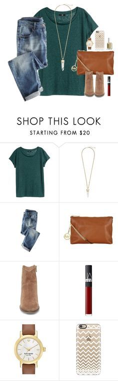 """""""you know how lucky we are to have found each other?"""" by kaley-ii ❤ liked on Polyvore featuring H&M, Kendra Scott, Wrap, MICHAEL Michael Kors, Steve Madden, NARS Cosmetics, Kate Spade, Casetify and Lilly Pulitzer"""