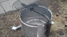Stainless Steel Washer Drum Fire Pit With Grill