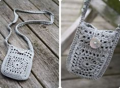 Cute cell phone bag. (The pattern is in Danish; however, we could used any granny square and border/edging we like... This would be a great project to crochet multi-layered granny squares that are too time consuming to make for an afghan... Deb)