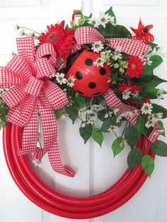 RED GARDEN HOSE WREATH-Big Ladybug White Spring Flowers Gingham Ribbon FREE SHIP