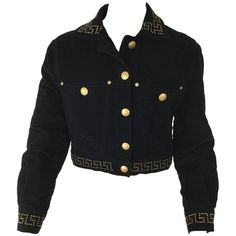 Versace Jeans Couture Black Velveteen Cropped Jacket Versace Jacket, Versace  Jeans Couture, Studded Collar c0f82942d1b