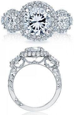 Tacori Blooming Beauties engagement ring. Style # HT2525RD8. Double the blooms and triple the diamonds for limitless shine! This ring is for the glamour girl who knows what she wants and is not afraid to sparkle. Signature diamond crescents and the exposed culet give this blooming beauty the prettiest of profiles. Via Tacori.
