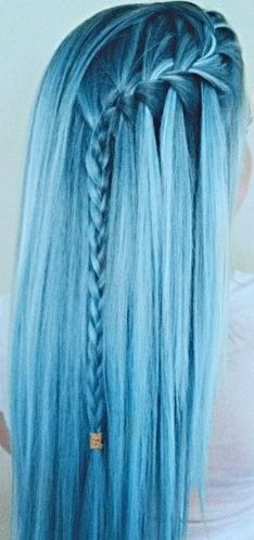 Nov 2018 - Colours of the Rainbow. See more ideas about Hair, Dyed hair and Hair styles. Pretty Hairstyles, Braided Hairstyles, Blue Hairstyles, Scene Hairstyles, Summer Hairstyles, Amazing Hairstyles, Style Hairstyle, Pastel Blue Hair, Colorful Hair