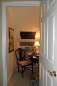 closet unter the stairway converts to home office