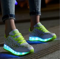 Softwalk Light Up Shoes - USB Rechargeable - LED Shoes for Adults - Closure Type: Lace Up - Feature: Lighted - Upper Material: PU - Outsole Material: Rubber - Lining Material: Canvas - Gender: Women Light Up Sneakers, Light Up Shoes, Sneakers Nike, Cute Shoes, Me Too Shoes, Creative Shoes, Shoe Gallery, Color Change, What To Wear