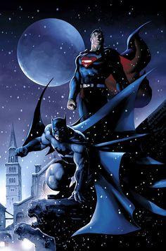 Espectacular arte de Batman y Superman!