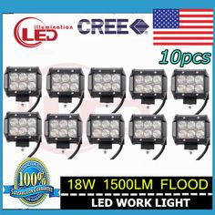 10x 4inch 18W CREE LED LIGHT BAR WORK FLOOD  OFFROAD BOAT UTE CAR TRUCK 4WD LAMP