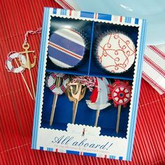 Nautical Party Cupcake Kit from Beaucoup.com - Love this!