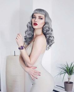 Vintage Hairstyles With Bangs _missbo - Vintage Hairstyles, Hairstyles With Bangs, Extreme Hair Colors, Rockabilly Hair, Pin Up Hair, Pin Curls, Up Girl, Hair Dos, Hair Inspiration