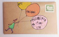 Mail Art by Naomi Loves: Balloon girl Envelope Lettering, Envelope Art, Envelope Design, Hand Lettering, Mail Art Envelopes, Addressing Envelopes, Pen Pal Letters, Letter Art, Letter Writing