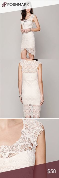 NWOT Free People Peekaboo Lace slip Color is called sand dollar, but is like blush. beautiful. I love this dress. Another from FP that looks great on everyone. Free People Dresses Asymmetrical